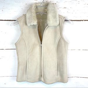 Suede-like Vest with Faux Fur, XSP